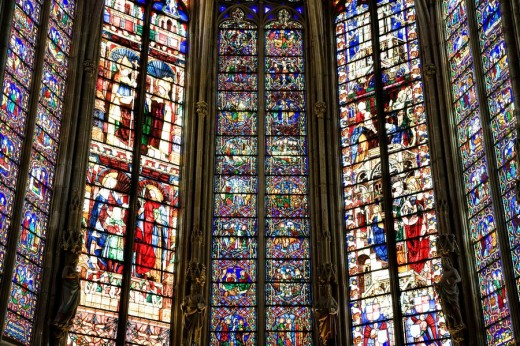 Stained Glass, Basilica Cathedral Church of Saint Nazaire, Cite, Carcassonne, France : Stock Photo