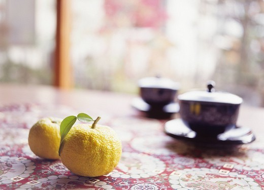 Concept A yuzu citron, Japanese tea Japan : Stock Photo