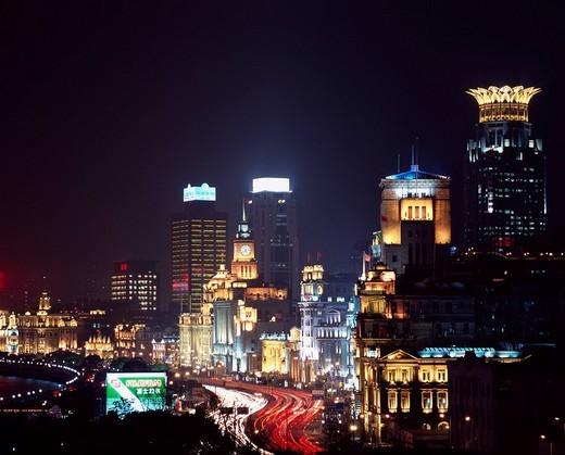 Stock Photo: 4034-97141 Night View Wai Tan Shanghai China Asia