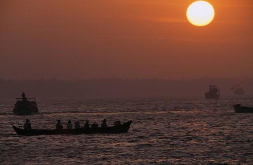 Mekong Delta Mekong Sunrise My Tho Vietnam : Stock Photo