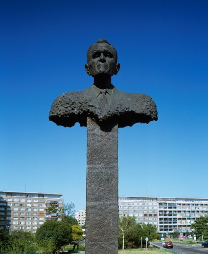 Hero Cornel Cobos´s statue Bucharest Rumania : Stock Photo