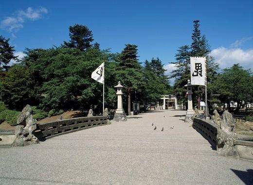 Uesugi Shinto shrine, Yonezawa, Yamagata, Tohoku, Japan : Stock Photo