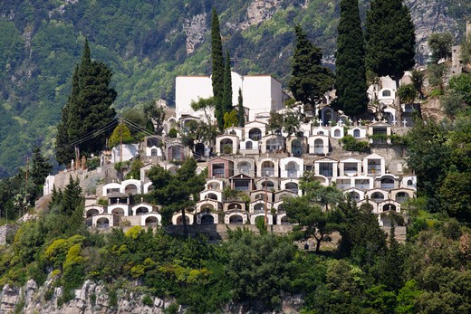 High angle view of a cemetery in a coastal town, Praiano, Salerno, Campania, Italy : Stock Photo
