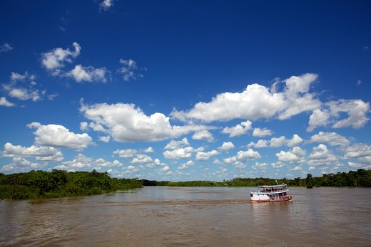 Stock Photo: 4038-166 Boat in the river, Amazon River, Brazil