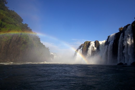 Stock Photo: 4038-190 Waterfalls with a rainbow, Iguacu Falls, Argentina