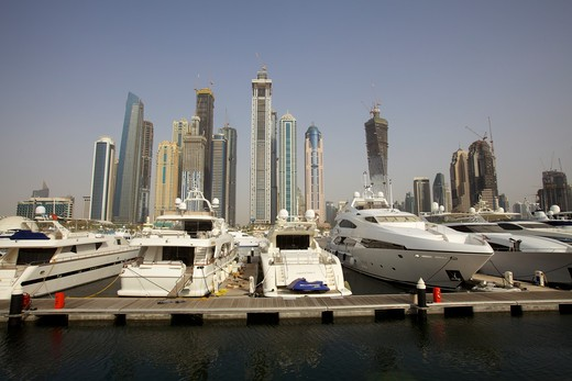 Ships at a harbor, Dubai, United Arab Emirates : Stock Photo