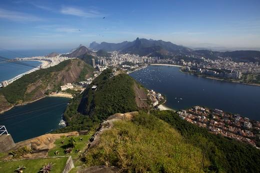 Stock Photo: 4038-263 High angle view of a mountain range, Sugarloaf Mountain, Rio de Janeiro, Brazil