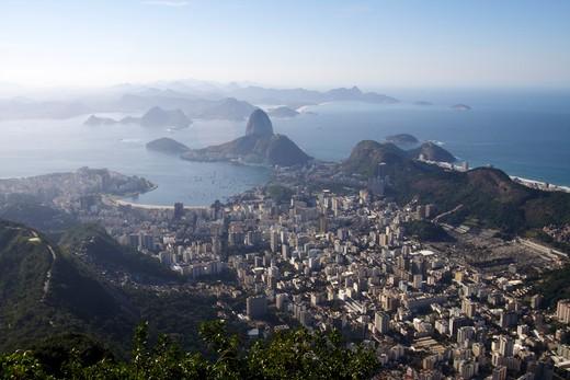 Rock formations in the ocean, Corcovado, Rio de Janeiro, Brazil : Stock Photo