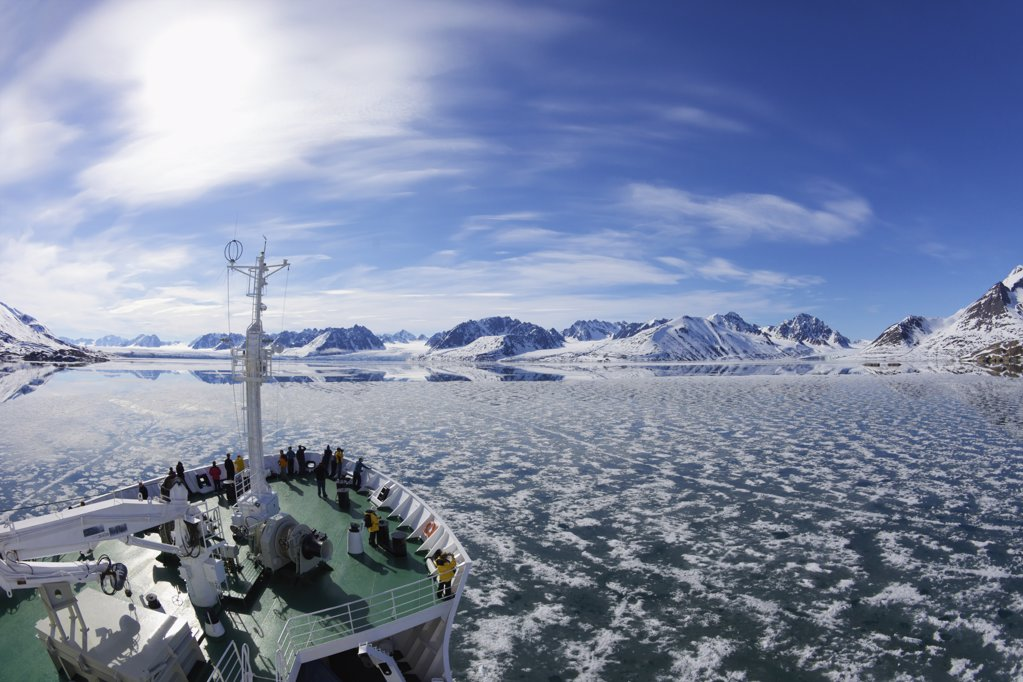 Tourists on Akademik Sergey Vavilov cruise ship, Monaco Glacier, Liefdefjorden, Spitsbergen, Svalbard Islands, Norway : Stock Photo