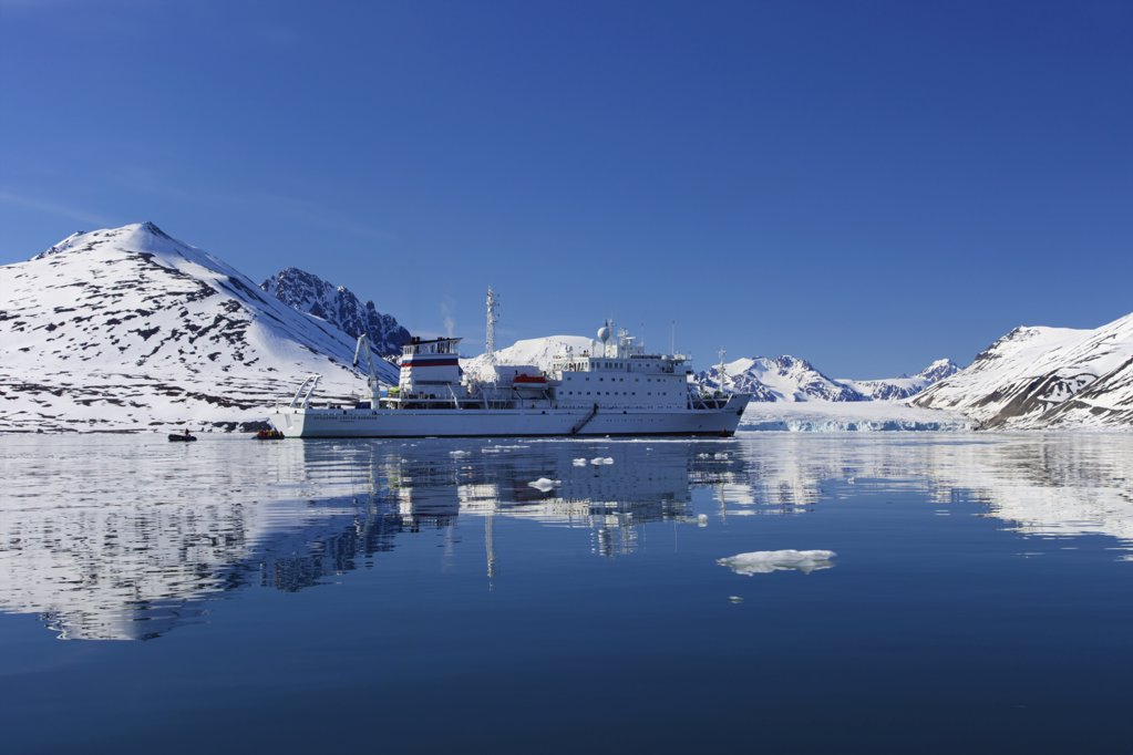 Stock Photo: 4042-1029 Akademik Sergey Vavilov cruise ship in fjord, Monaco Glacier, Liefdefjorden, Spitsbergen, Svalbard Islands, Norway