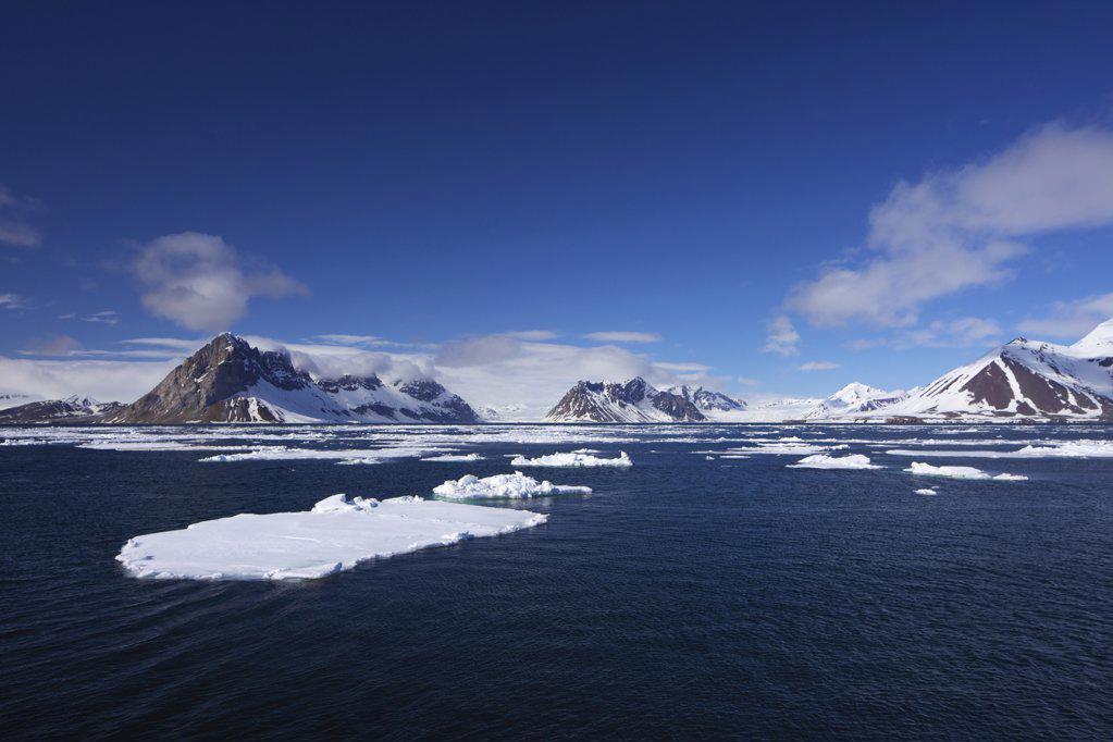 Stock Photo: 4042-1040 Pack ice in fjord in summer, Hornsund Fjord, Spitsbergen, Svalbard Islands, Norway
