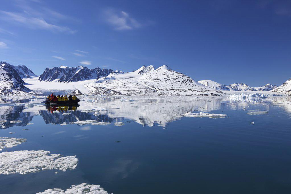 Stock Photo: 4042-1109 Tourists on zodiac inflatable exploring in summer, Monaco Glacier, Liefdefjorden, Spitsbergen, Svalbard Islands, Norway