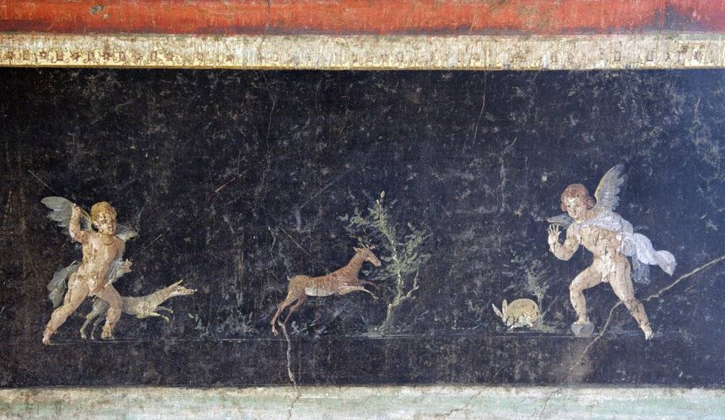 Stock Photo: 4042-1136 Predella with Cupids hunting fawn and hare with help of dog, fresco, Italy, Naples, National Archeological Museum