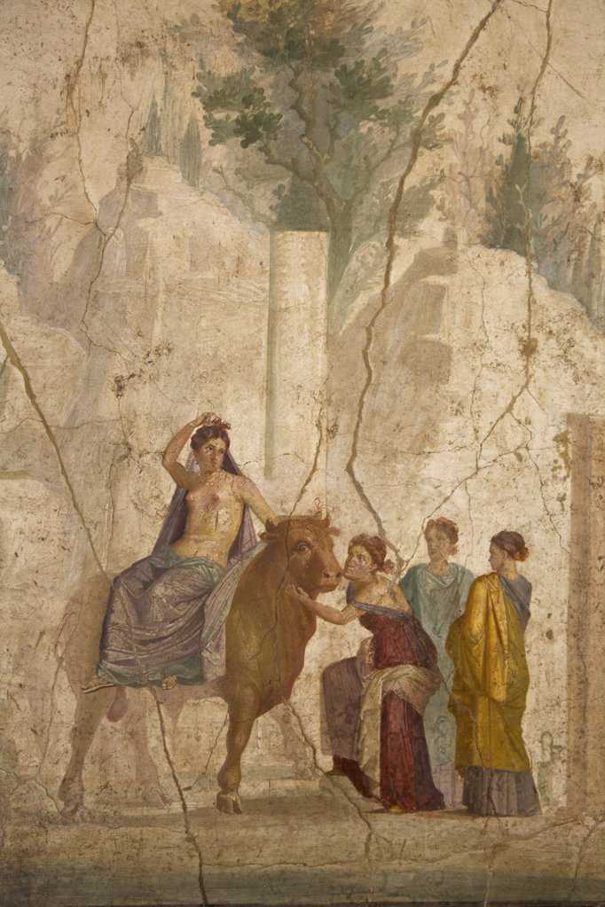 Stock Photo: 4042-1138 Europa riding Zeus disguised as bull, fresco from House of Jason, Italy, Naples, National Archeological Museum