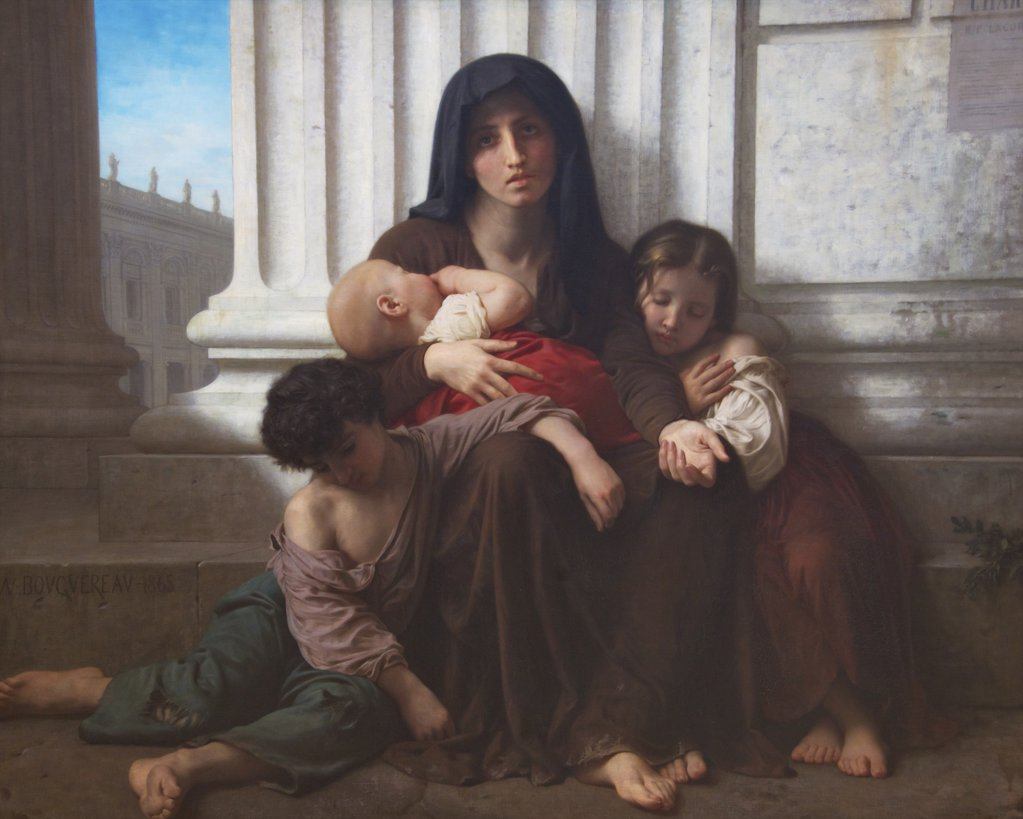 Stock Photo: 4042-1171 Charity by William Adolphe Bouguereau, 1865, UK, Birmingham, City Art Gallery