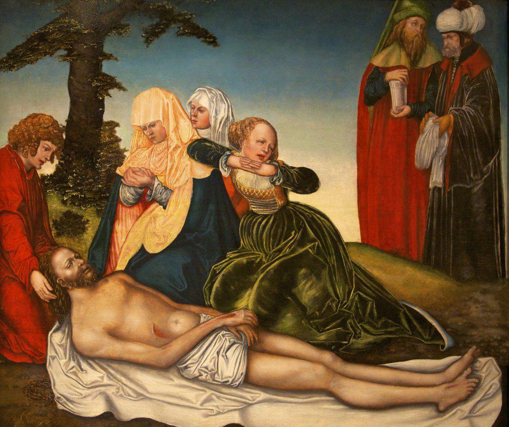 Stock Photo: 4042-1188 The Lamentation by Lucas Cranach, 1518, UK, Birmingham, City Art Gallery