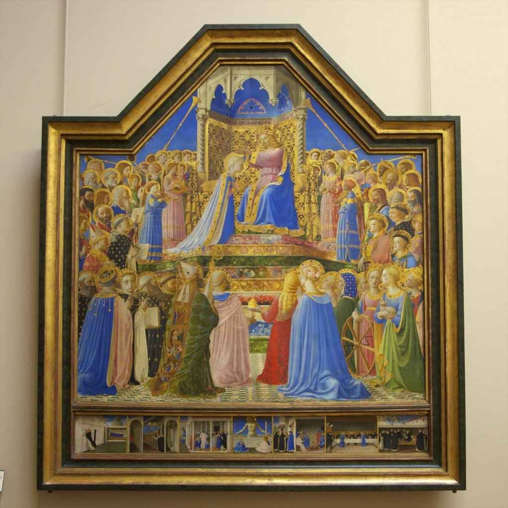Stock Photo: 4042-1216 The Coronation of the Virgin by Fra Angelico, 1430, France, Paris, Musee du Louvre