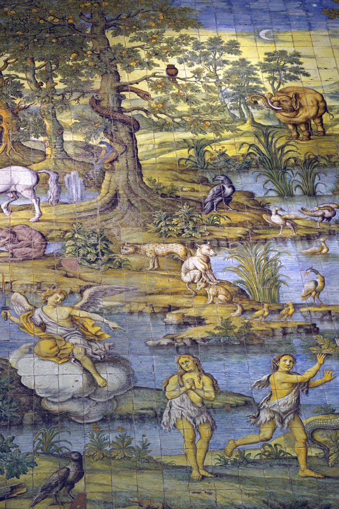 Stock Photo: 4042-1222 Italy, Campania, Neapolitan Riviera, Isle of Capri, Church of San Michele Arcangelo, detail of majolica tiled floor depicting earthly paradise by Leonardo Chiaiese, 1761