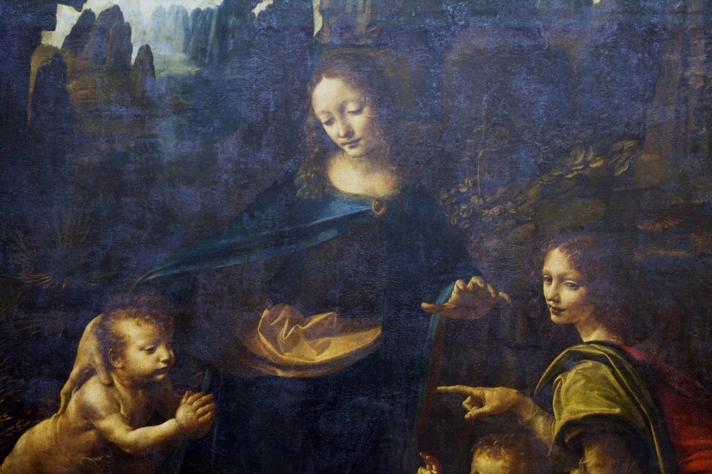 Stock Photo: 4042-1245 Detail from Virgin of the Rocks by Leonardo da Vinci, 1497, France, Paris, Musee du Louvre