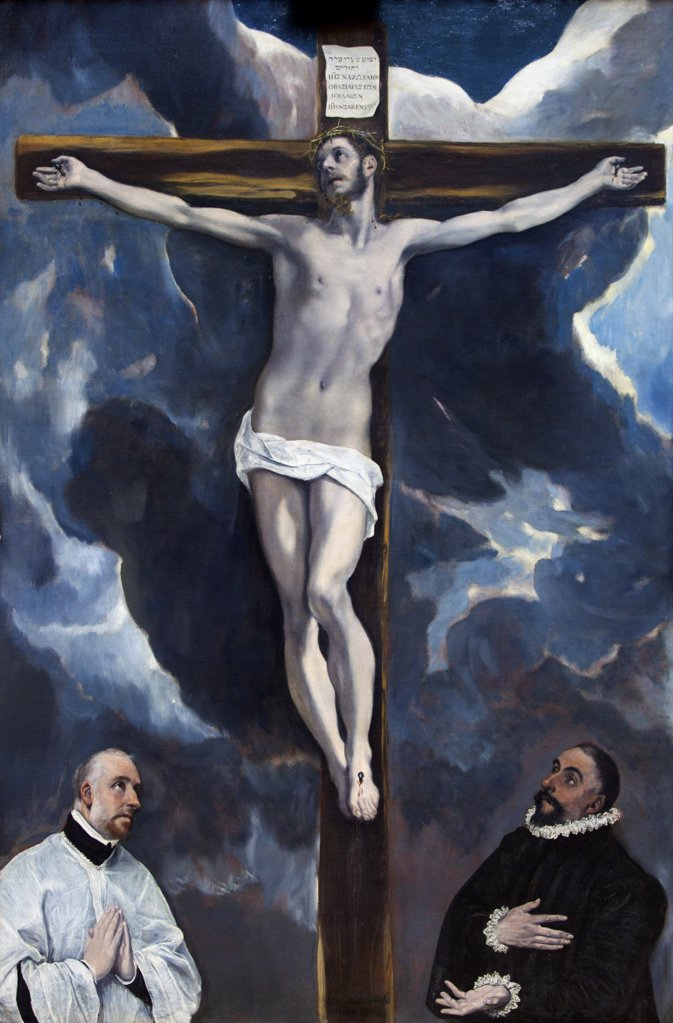 Christ On The Cross Adored By Two Donors by El Greco, circa 1590, France, Paris, Musee du Louvre : Stock Photo