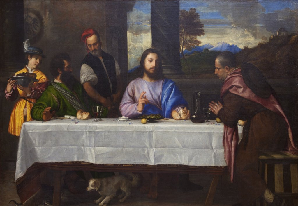 Stock Photo: 4042-1273 The Pilgrims of Emmaus by Titian, 1530, France, Paris, Musee du Louvre