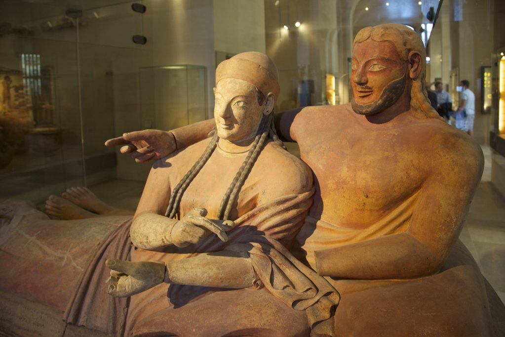 Sarcophagus of spouses, etruscan terracotta, 6th century AD, France, Paris, Musee du Louvre : Stock Photo