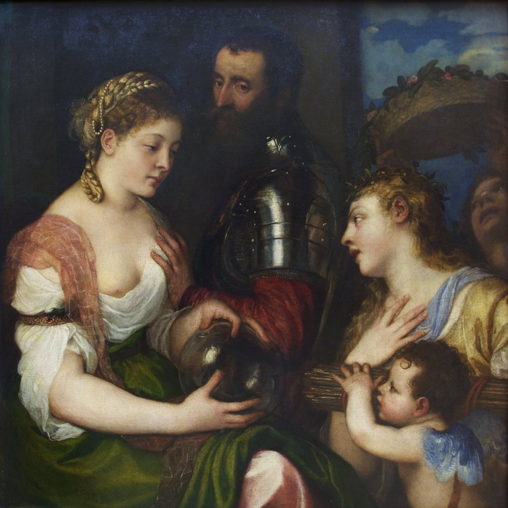 Stock Photo: 4042-1288 An Allegory by Titian, oil on canvas, 1515, France, Paris, Musee du Louvre