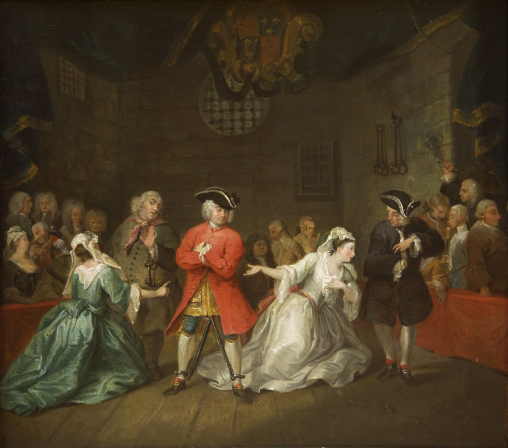 Illustration of John Gay' s The Beggar's Opera by William Hogarth, 1728, UK, England, Birmingham, Birmingham Museum & Art Gallery : Stock Photo