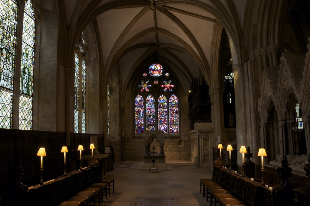 Stock Photo: 4042-1394 Lady Chapel with shrine of St. Frideswide and the St. Frideswide Window, Christchurch Cathedral, Oxford University, Oxford, Oxfordshire, England