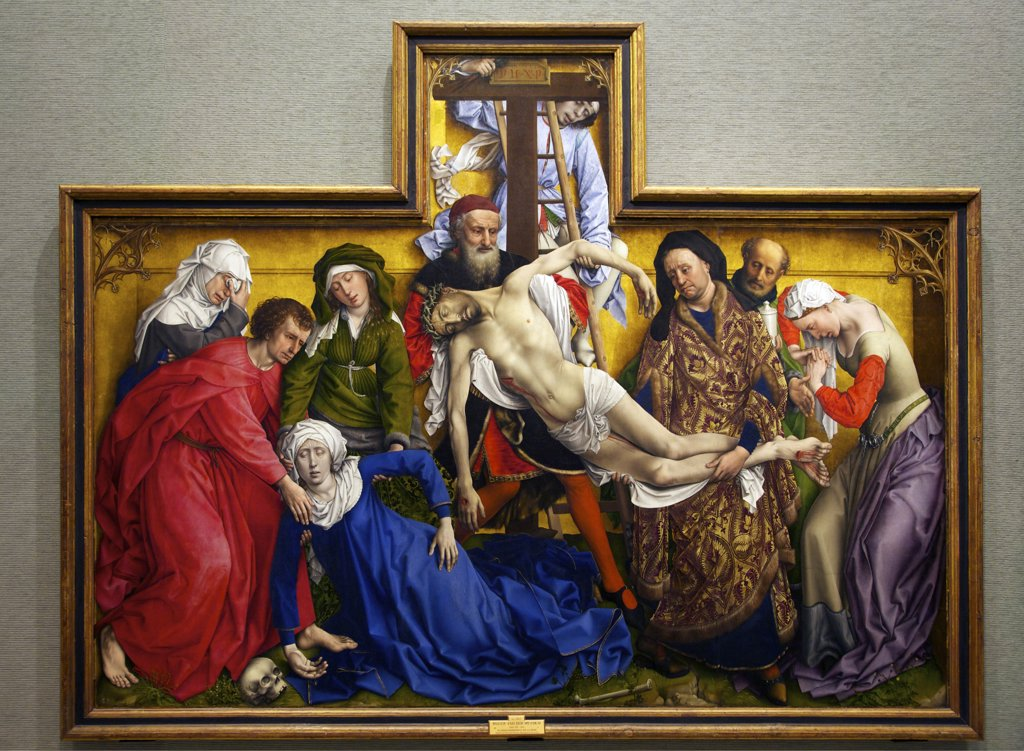 Stock Photo: 4042-1509 The Deposition or, Descent from the Cross by Rogier van der Weyden, oil on oak panel, circa 1435, Spain, Madrid, Museo Nacional del Prado Museum