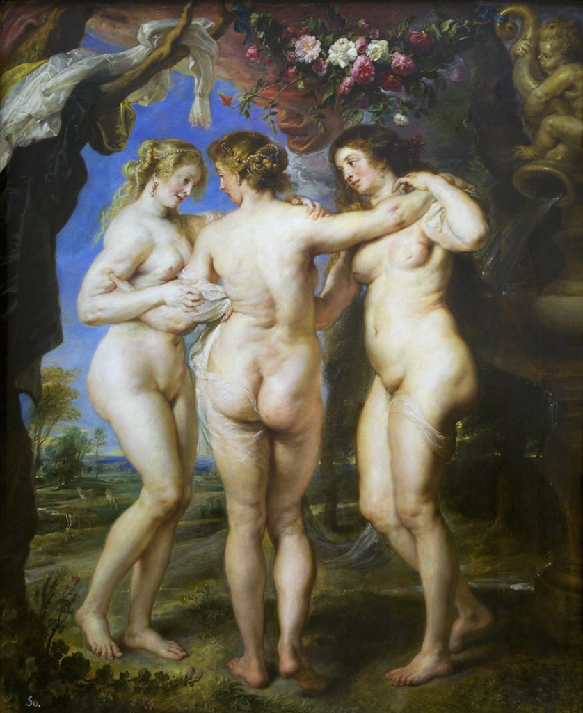 Three Graces by Peter Paul Rubens, 1639, Spain, Madrid, Museo Nacional del Prado : Stock Photo