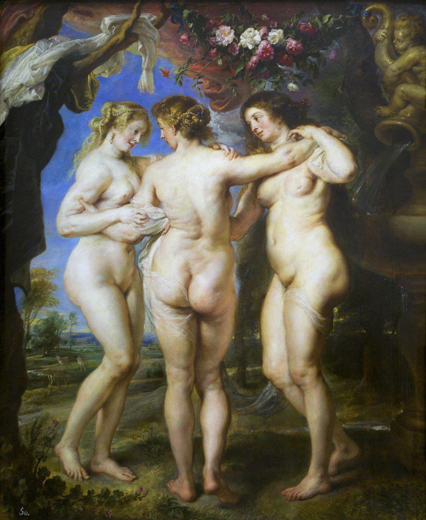 Stock Photo: 4042-1515 Three Graces by Peter Paul Rubens, 1639, Spain, Madrid, Museo Nacional del Prado