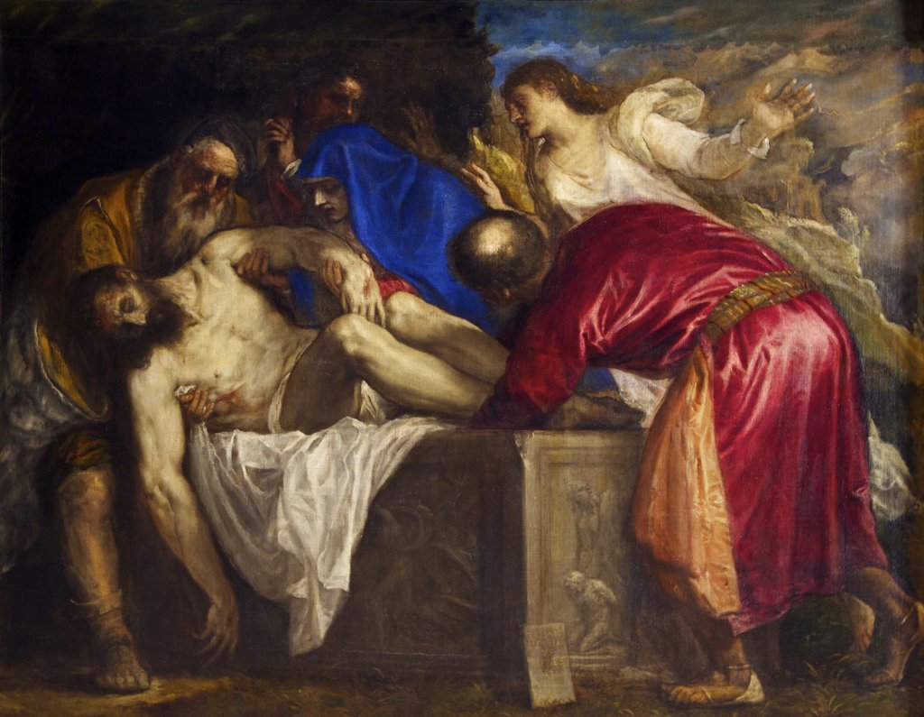 Stock Photo: 4042-1518 The Burial of Christ  by Titian (Tiziano Vecellio), 1559, Spain, Madrid, Museo Nacional del Prado