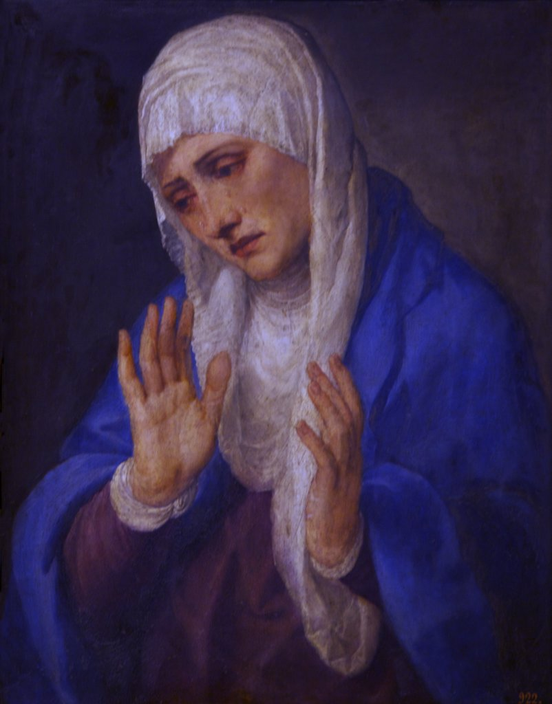 Stock Photo: 4042-1520 Mater Dolorosa, Mother of Sorrow, with her Hands apart by Titian (Tiziano Vecellio), 1555, Spain, Madrid, Museo Nacional del Prado