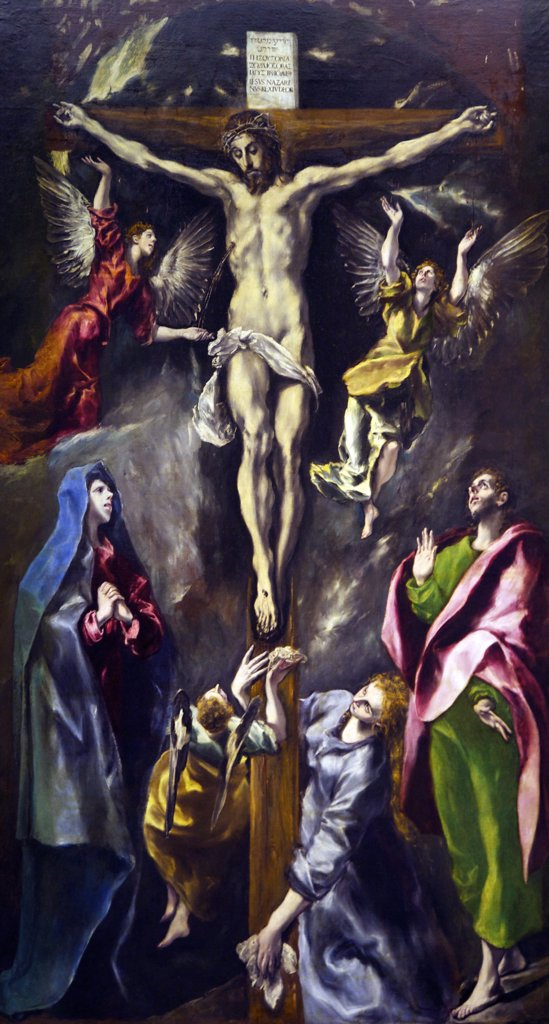 The Crucifixion by El Greco, 1584, Spain, Madrid, Museo Nacional del Prado : Stock Photo
