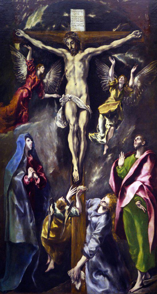 Stock Photo: 4042-1528 The Crucifixion by El Greco, 1584, Spain, Madrid, Museo Nacional del Prado