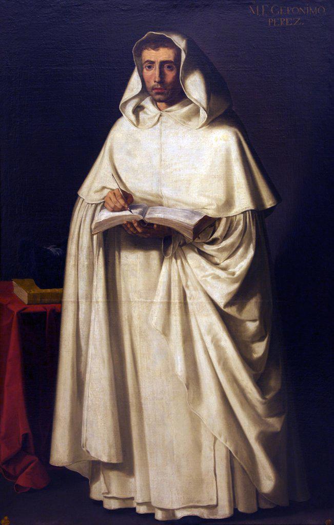 Stock Photo: 4042-1529 Friar Jeronimo Perez by Francisco de Zurbaran, circa 1630, Spain, Madrid, Real Academia de Bellas Artes