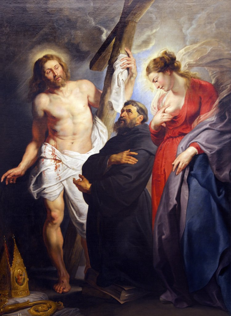 Stock Photo: 4042-1537 Saint Augustine between Christ and Mary by Peter Paul Rubens, circa 1615, Spain, Madrid, Real Academia de Bellas Artes
