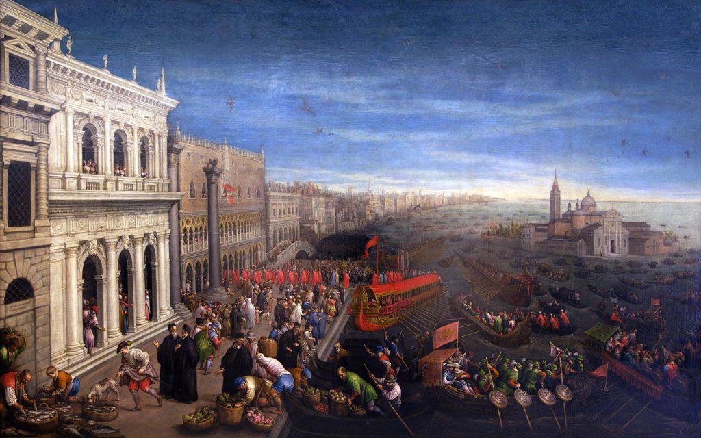 Stock Photo: 4042-1538 Schiavoni Quay in Venice by Leandro Bassano, Spain, Madrid, Real Academia de Bellas Artes