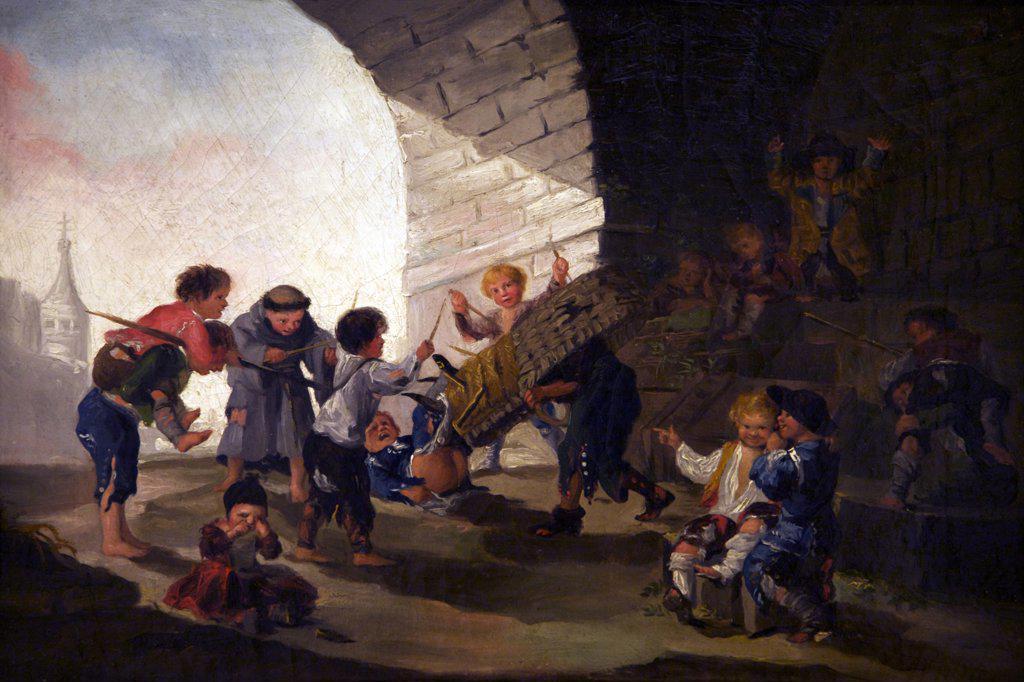 Stock Photo: 4042-1542 Children playing as bullfighters by Francisco de Goya y Lucientes, Spain, Madrid, Real Academia de Bellas Artes