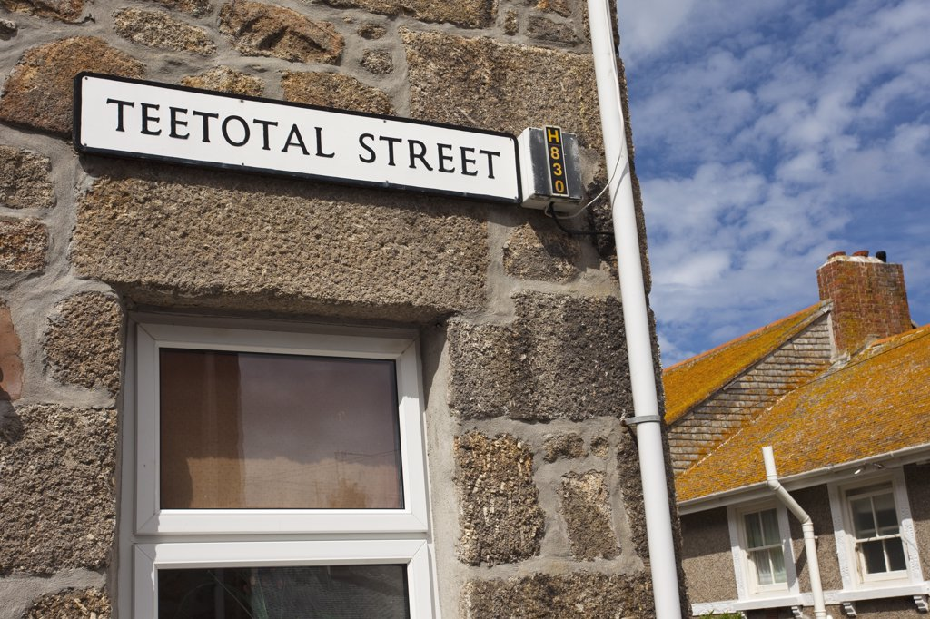 Stock Photo: 4042-156 Street name sign on a wall, Teetotal Street, Cornish Riviera, St. Ives, Penwith, Cornwall, England