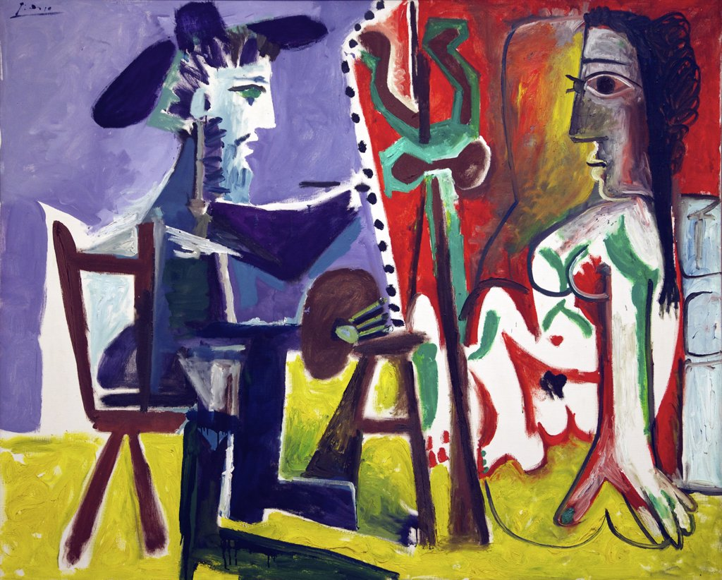 Stock Photo: 4042-1564 The Painter and the Model by Pablo Picasso, 1963, Spain, Madrid, Reina Sofia Museum of Modern Art.