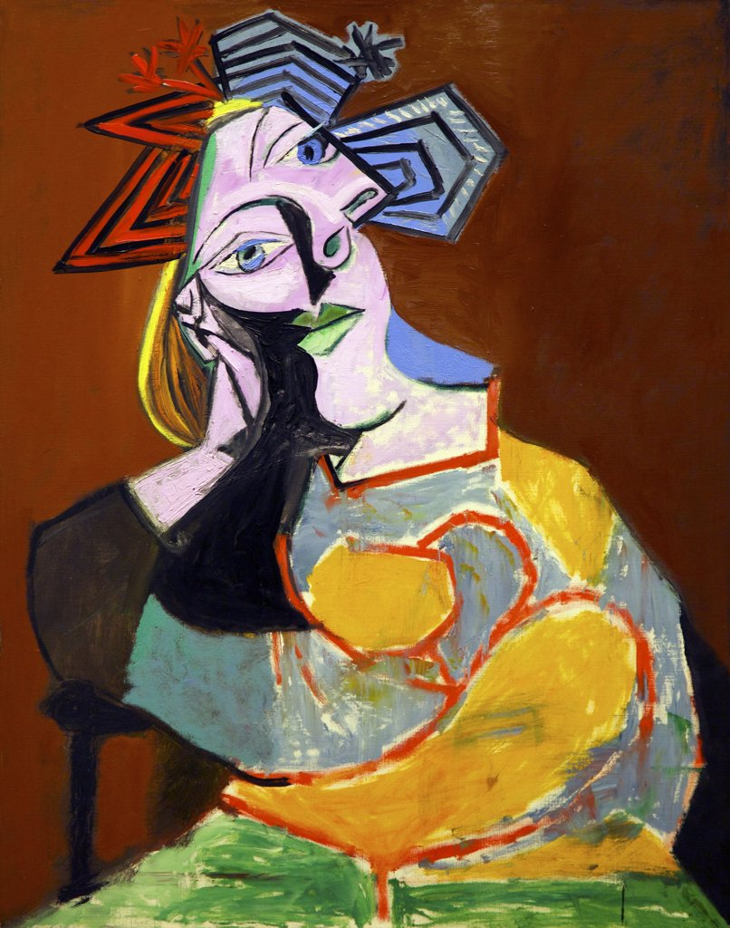 Stock Photo: 4042-1575 Seated Woman Resting on Elbows by Pablo Picasso, 1939, Spain, Madrid, Reina Sofia Museum of Modern Art