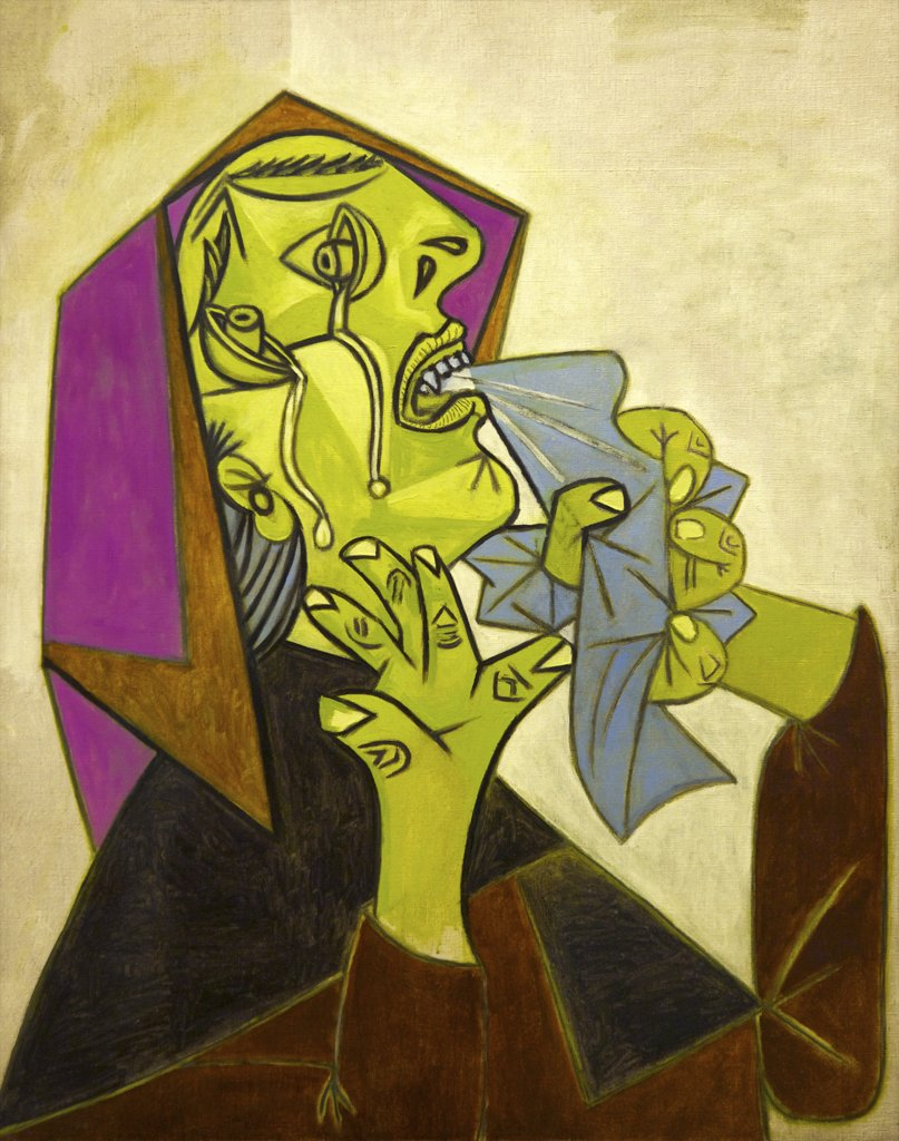 Stock Photo: 4042-1577 Head of Crying Woman with Handkerchief by Pablo Picasso, 1937, Spain, Madrid, Reina Sofia Museum of Modern Art