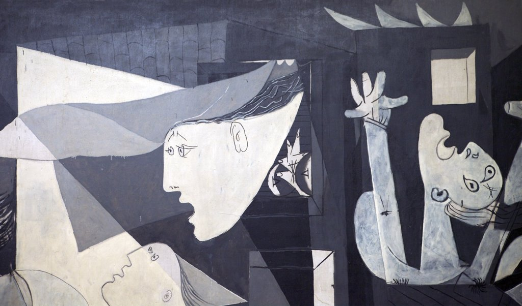 Stock Photo: 4042-1583 Detail of Guernica by Pablo Picasso, 1937, Spain, Madrid, Reina Sofia Museum of Modern Art