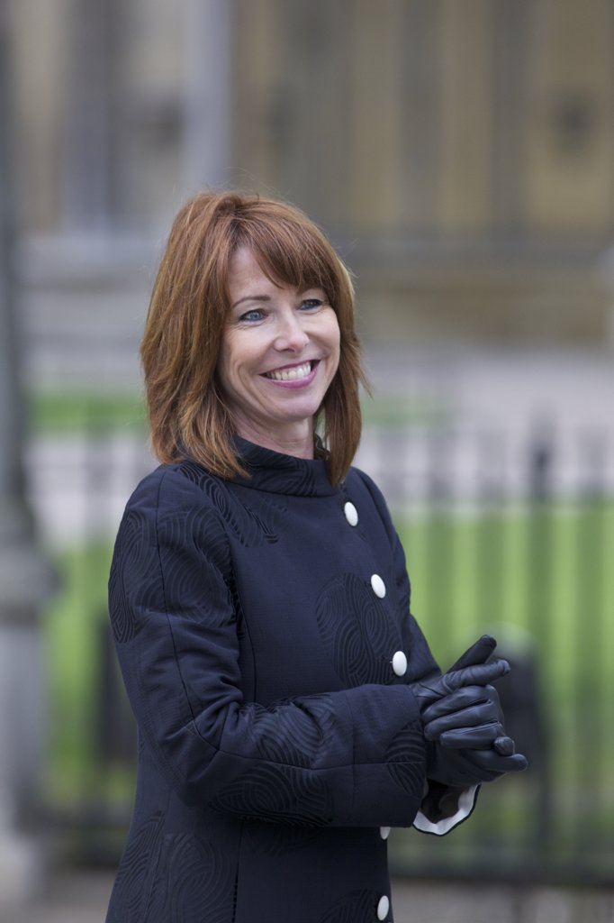 Stock Photo: 4042-1626 Kay Burley Sky News TV Presenter outside Westminster Abbey for Marriage of Prince William to Kate Middleton on 29th April 2011, London, England