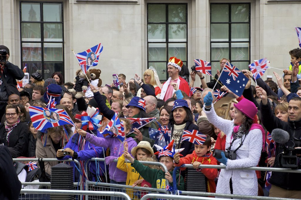 Spectators outside Westminster Abbey for Marriage of Prince William to Kate Middleton on 29th April 2011, London, England : Stock Photo
