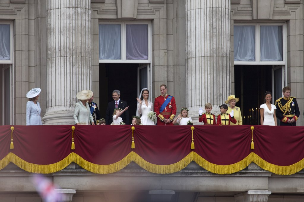 Stock Photo: 4042-1644 Public appearance on the balcony of Buckingham Palace in Marriage of Prince William to Kate Middleton on 29th April 2011, London, England