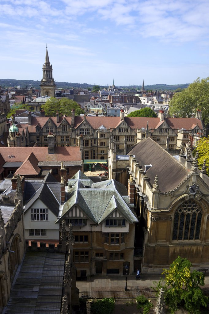 Stock Photo: 4042-1651 Colleges and church in a city, Brasenose College, Lincoln College, All Saints Church, University Church Of St Mary The Virgin, Oxford University, Oxfordshire, England