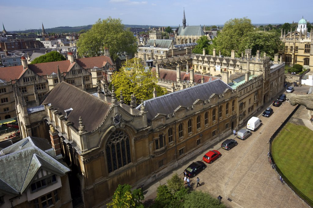 Colleges and church in a city, Brasenose College, All Saints Church, University Church Of St Mary The Virgin, Oxford University, Oxfordshire, England : Stock Photo